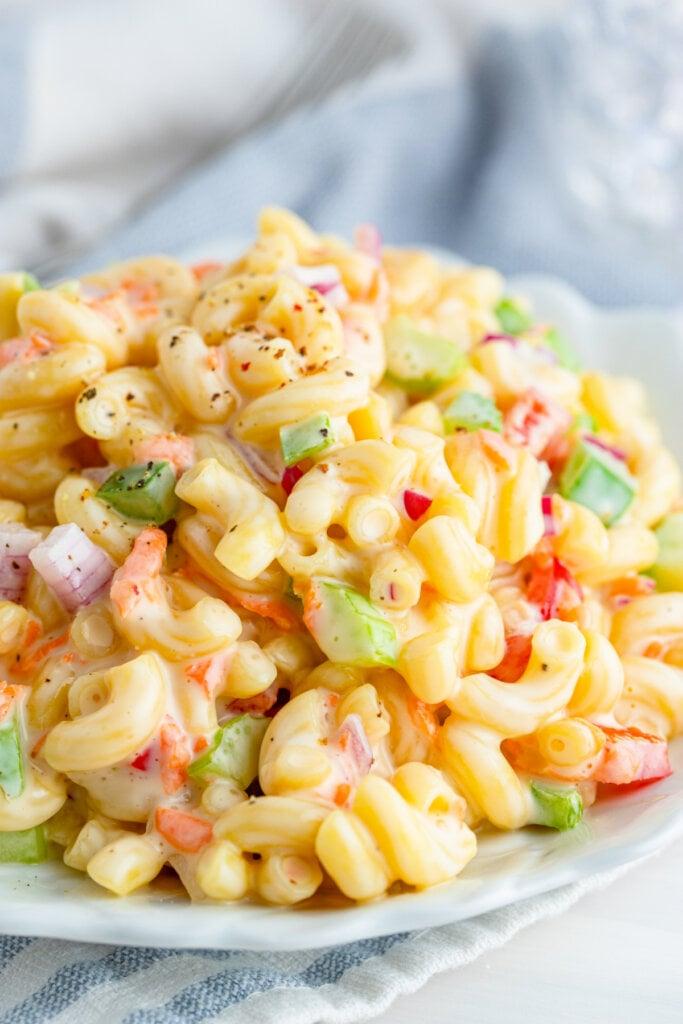 macaroni salad piled into a bowl