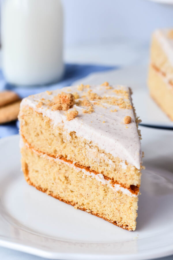 slice of snickerdoodle cake on plate