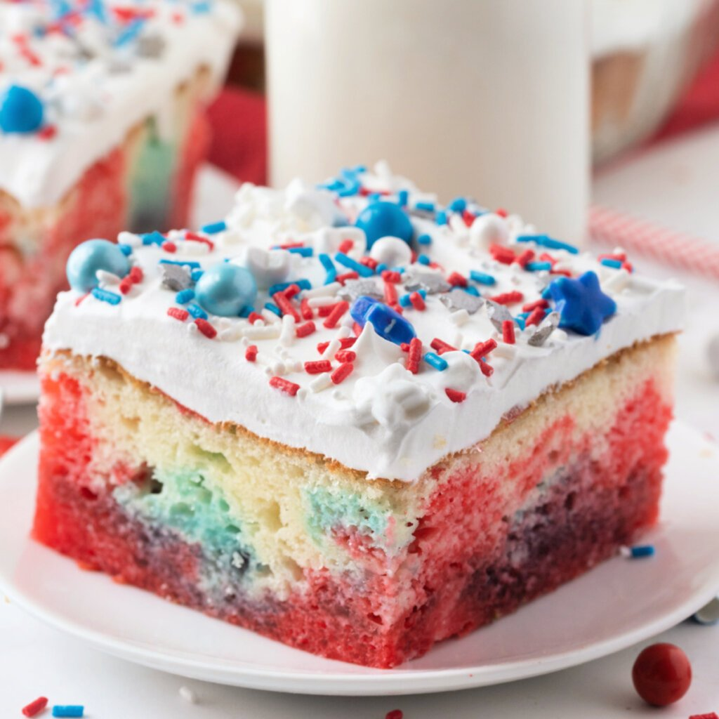 closeup jello poke cake on plate