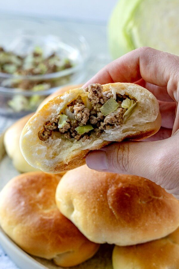 "Runzas - a delicious and easy to make homemade bun stuffed with ground beef, cabbage, and cheese! It's the original ""Hot Pocket""."