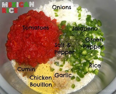 Diced onions, tomatoes, jalapeno green peppers, salt, pepper, cumin, chicken bouillon, garlic and rice in bowl
