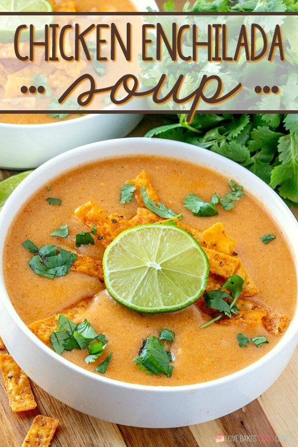 Chicken Enchilada Soup has chunks of chicken combined in a creamy, spicy enchilada soup base. Everything you love about chicken enchiladas - in soup form!