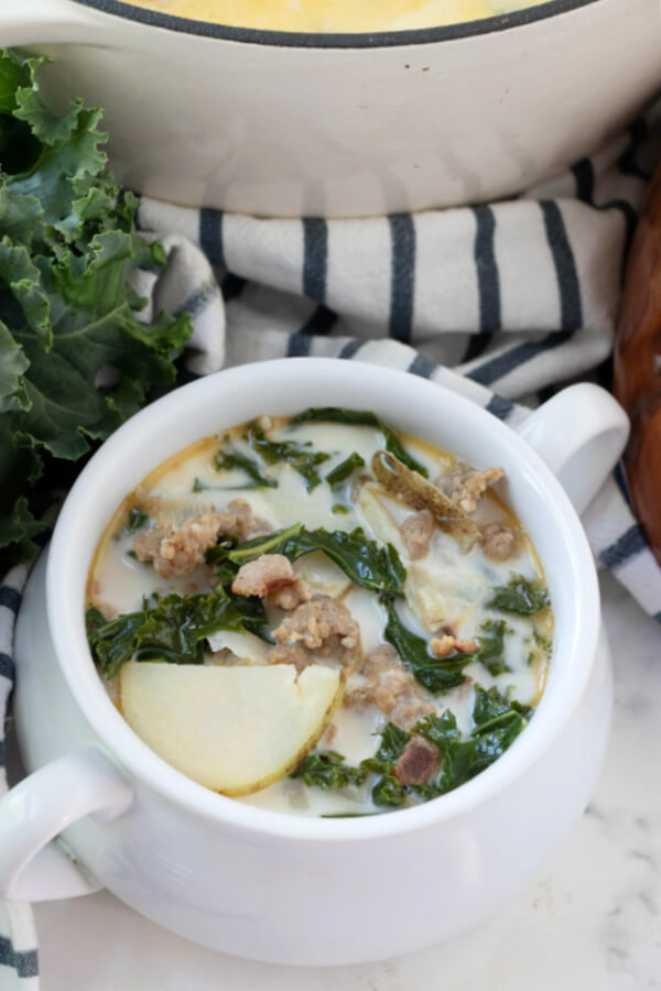 copycat Olive Garden Zuppa Toscana soup recipe in white bowl