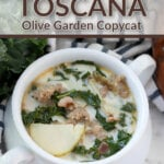 finished zuppa toscana soup in white bowl