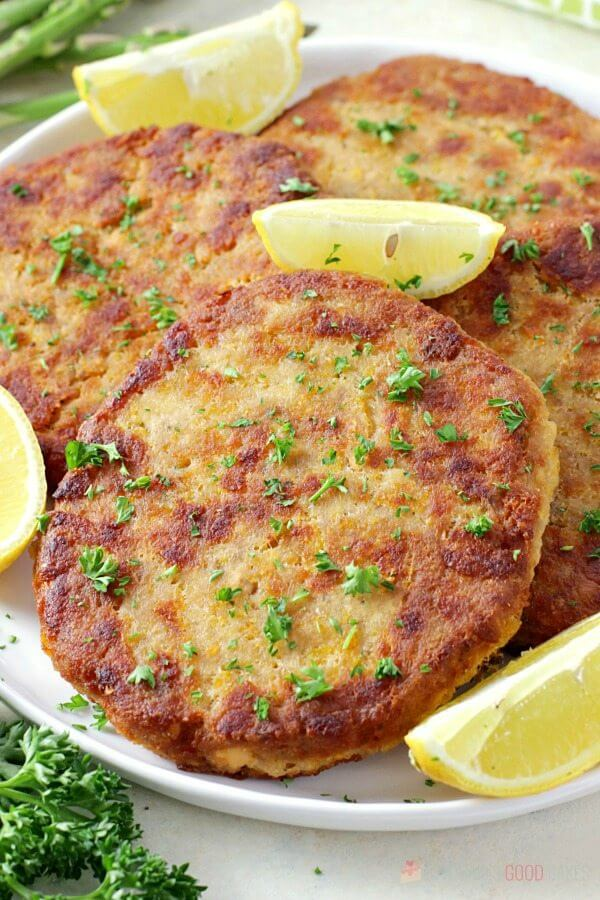 Crispy and tender salmon patties made with canned salmon on a white plate