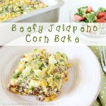 Beefy Jalapeno Corn Bake piece with green salad and red tomatoes on white plate