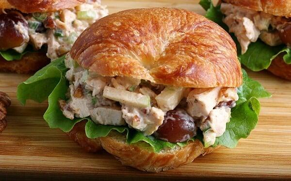 closeup of chicken salad on croissant