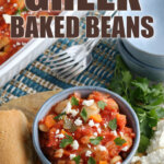Greek Baked Beans in bowl topped with Feta cheese