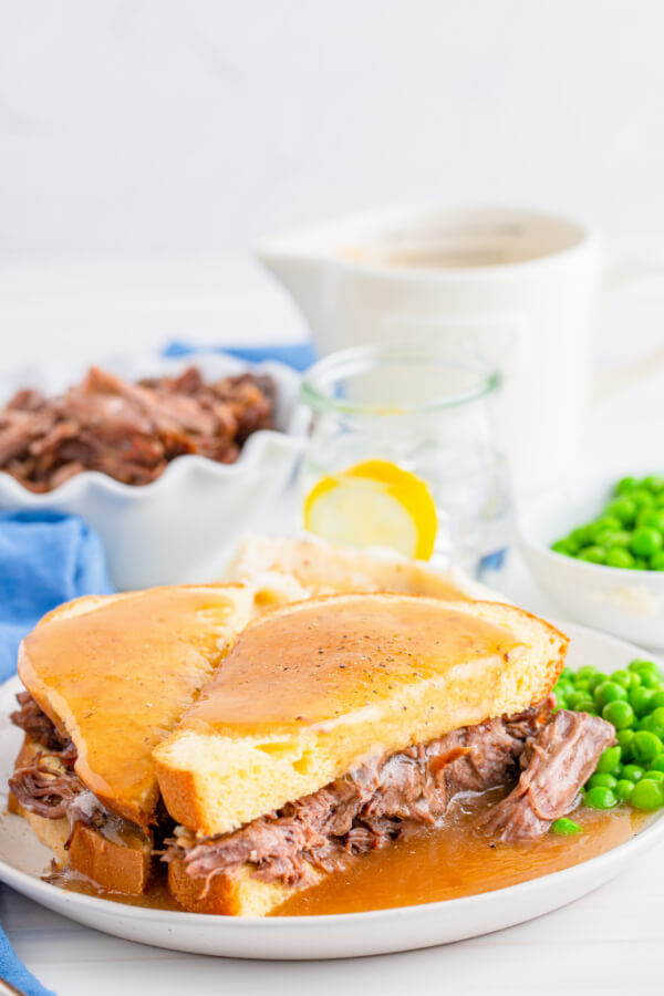 hot roast beef sandwich with mashed potatoes and gravy
