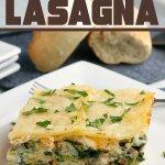 italian sausage spinach alfredo lasagna on plate