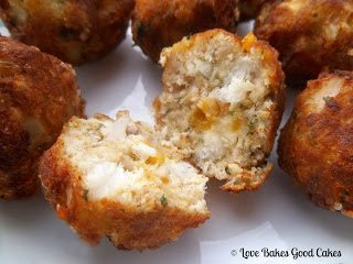 Fish Nuggets split open on white plate