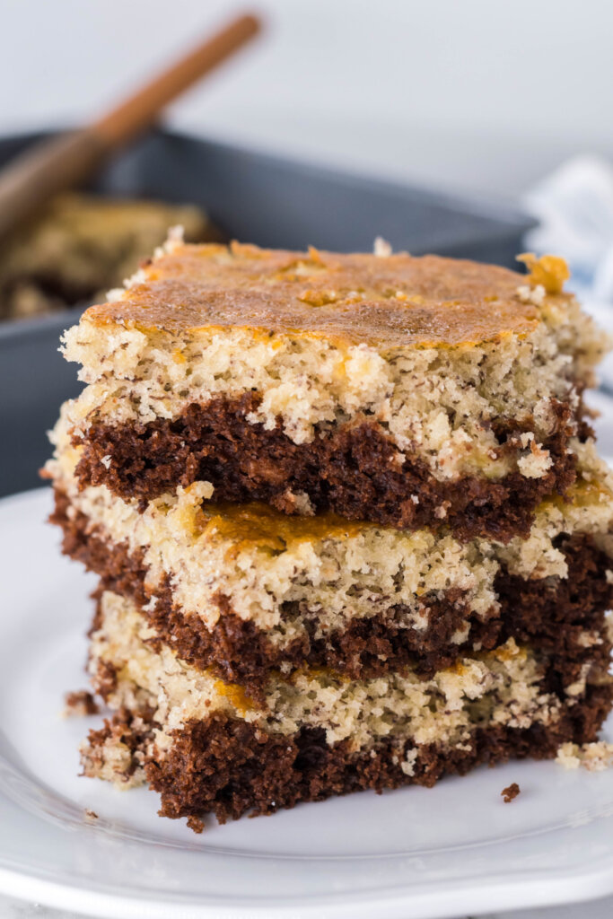 three chocolate banana bars stacked on top of each other