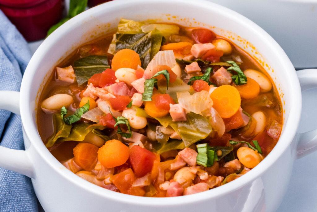 white bowl ham bean soup recipe