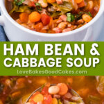 ham bean cabbage soup pin collage
