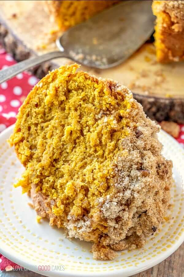 Pumpkin Streusel Coffee Cake piece on plate close up.