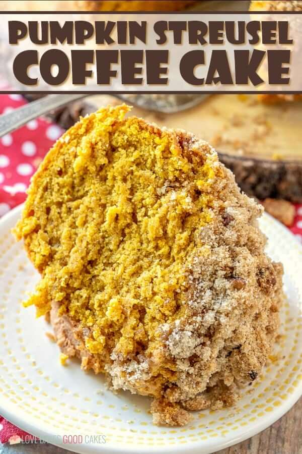 Pumpkin Streusel Coffee Cake piece on white plate.