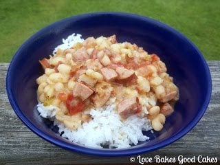 White Beans with Rice in blue bowl.
