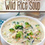 chicken broccoli and wild rice soup in bowl