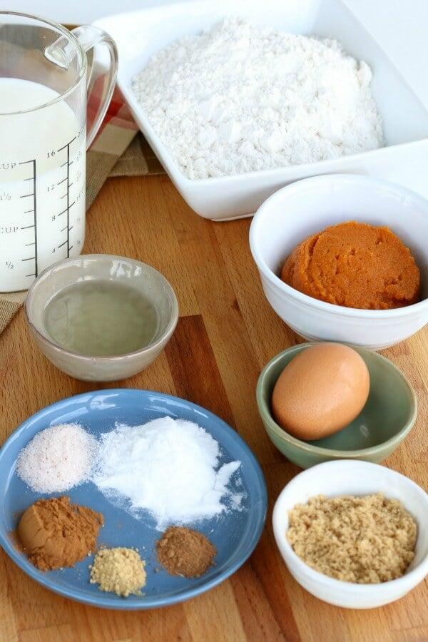 Ingredients for Pumpkin Pancakes.