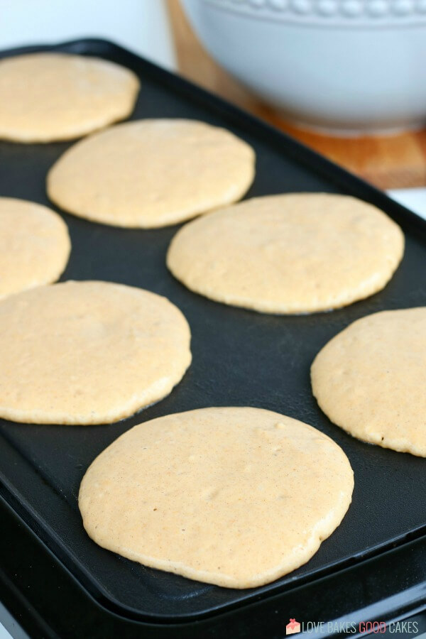 Pumpkin Pancakes cooking on the giddle.
