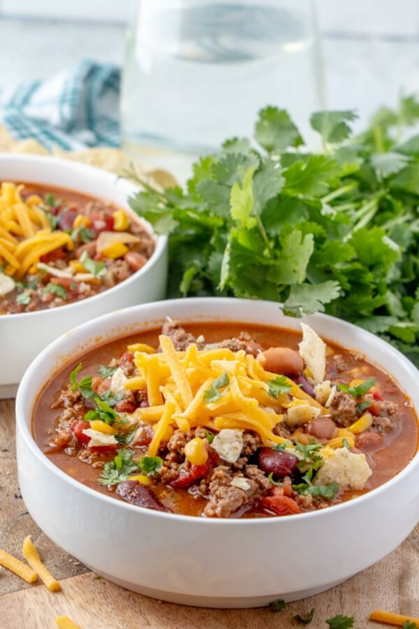 taco soup in bowl ready to eat
