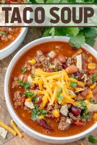 Taco Soup is a hearty and satisfying recipe with plenty of ground beef, beans, corn, and tomatoes in a zesty taco flavored broth.