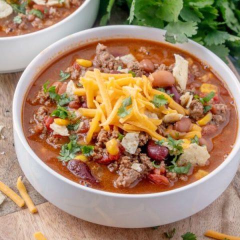 taco soup in bowl