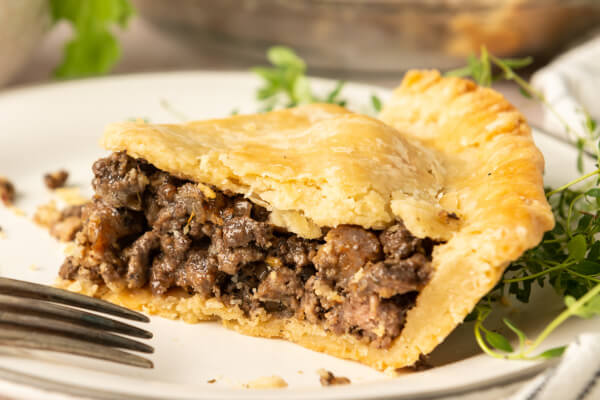 meat pie slice on plate