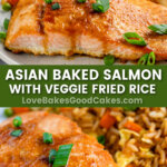 asian baked salmon pin collage