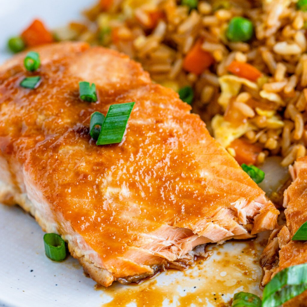 closeup of asian baked salmon with fried rice