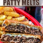 patty melt sandwich cut in half in basket with fries