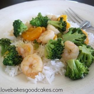 Orange and Broccoli Shrimp with Rice