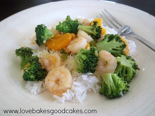 Orange and Broccoli Shrimp with Rice
