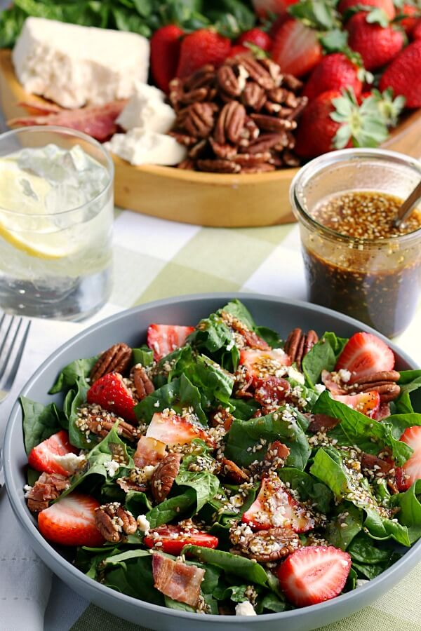 recipe for strawberry spinach sald with feta included