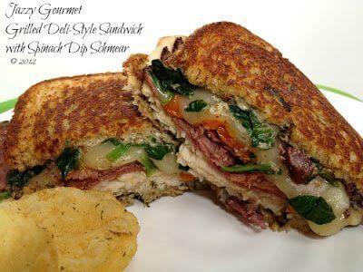 Grilled Deli-Style Sandwich with Spinach Dip Schmear on plate.
