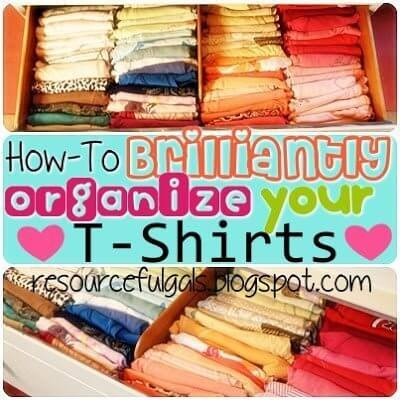 How to Brilliantly Organize T-shirts from The Resourceful Gals.