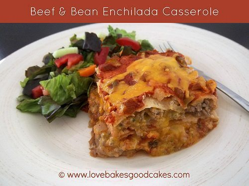 Beef & Bean Enchilada Casserole