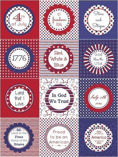4th of July Cupcake Toppers or Tags