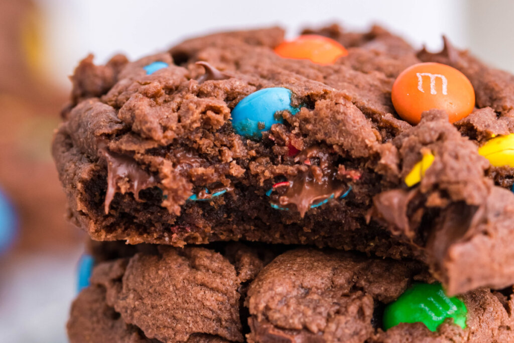 inside of m&m cookie