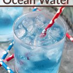 copycat sonic ocean water in glass on ice with straws
