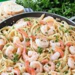 skillet of shrimp scampi with pasta