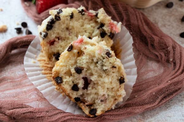 strawberry chocolate chip muffin split open