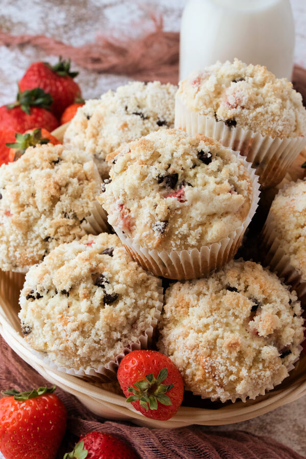 strawberry chocolate chip streusel muffins in basket