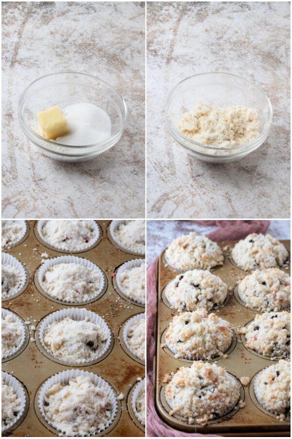 preparing the streusel and the muffins in tin before and after baking