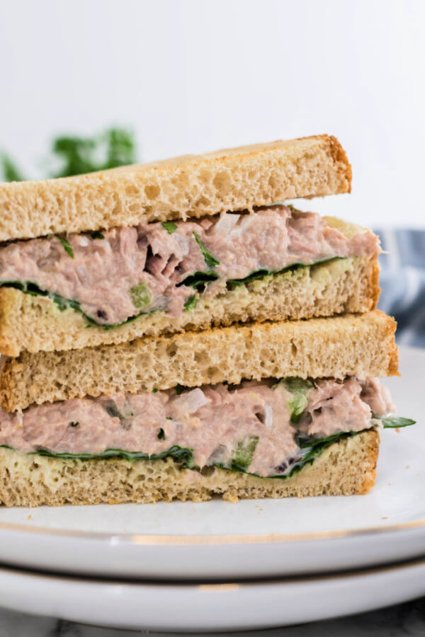 tuna sandwich cut in half and stacked