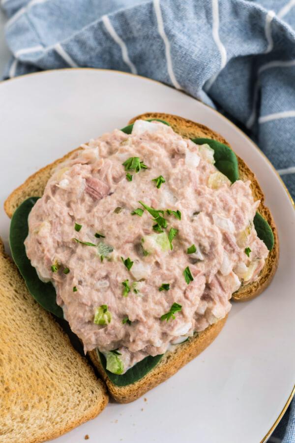 tuna salad filling on bread slice