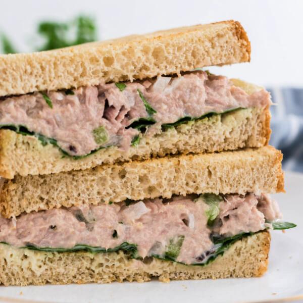 closeup of tuna salad sandwich