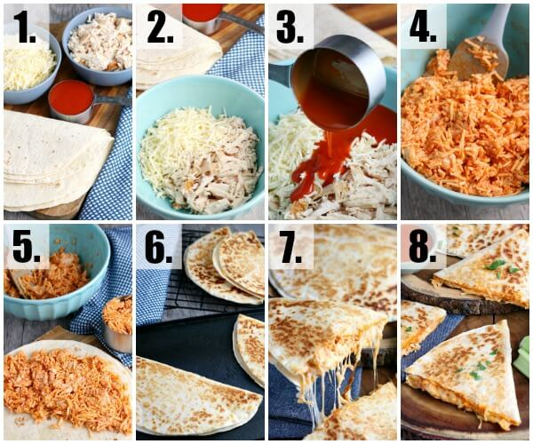 step by step how to make Buffalo Chicken Quesadillas
