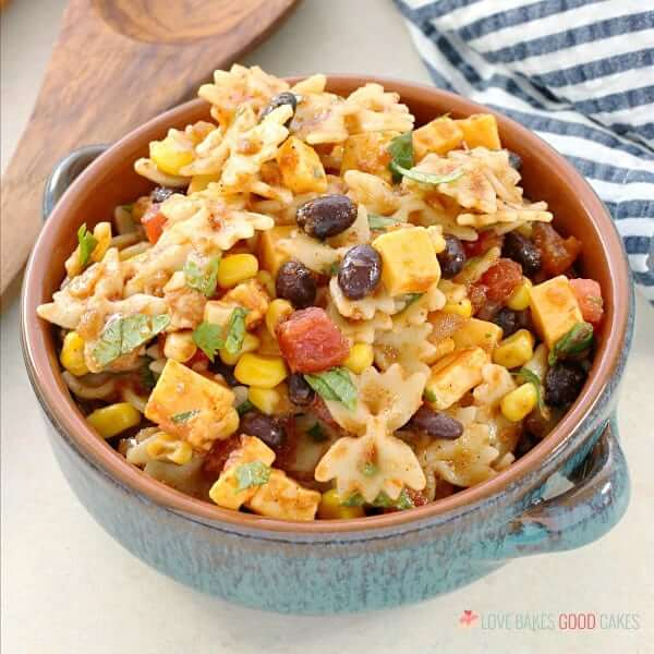 Your friends and family will love the Mexican flavors in this Taco Pasta Salad. Serve it at your next gathering for a change from the typical pasta salads!