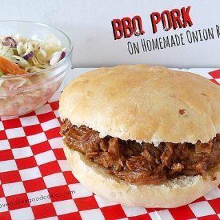 BBQ Pork on Homemade Onion Rolls
